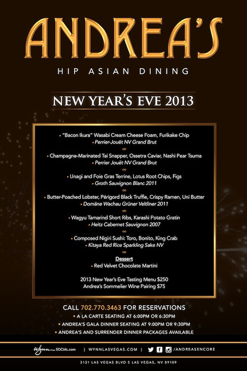 Xs nightclub new year 39 s eve dinner at andrea 39 s for What to make for new years eve dinner